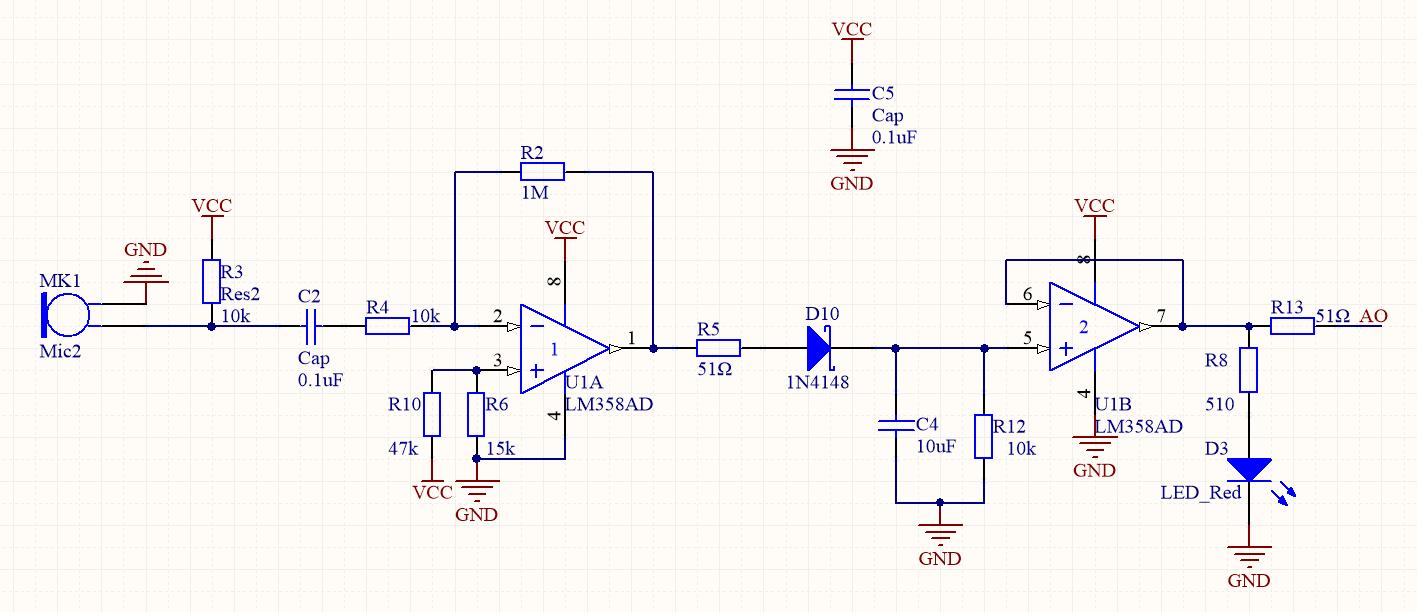 放大后的信号进过一个二极管检波电路,将调幅包络检出,然后经过一